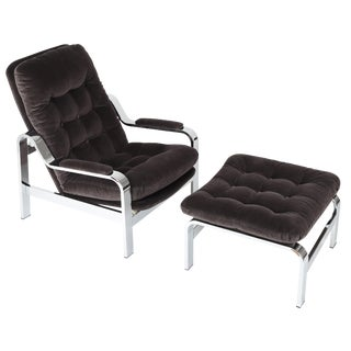1970'S VINTAGE SELIG RECLINING LOUNGE CHAIR AND OTTOMAN SET For Sale