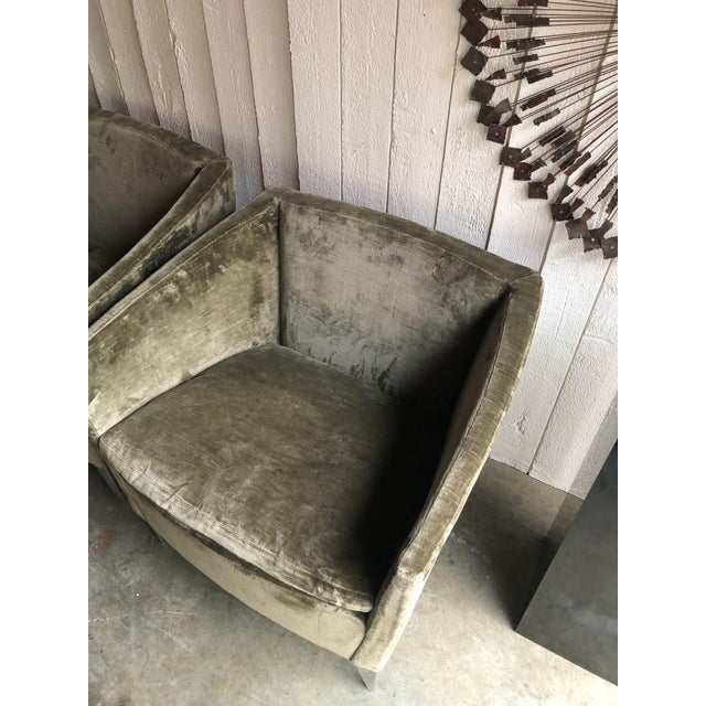 Bernhardt Furniture Co. Contemporary Club Chairs in Original Sage Crushed Velvet - a Pair For Sale - Image 11 of 12