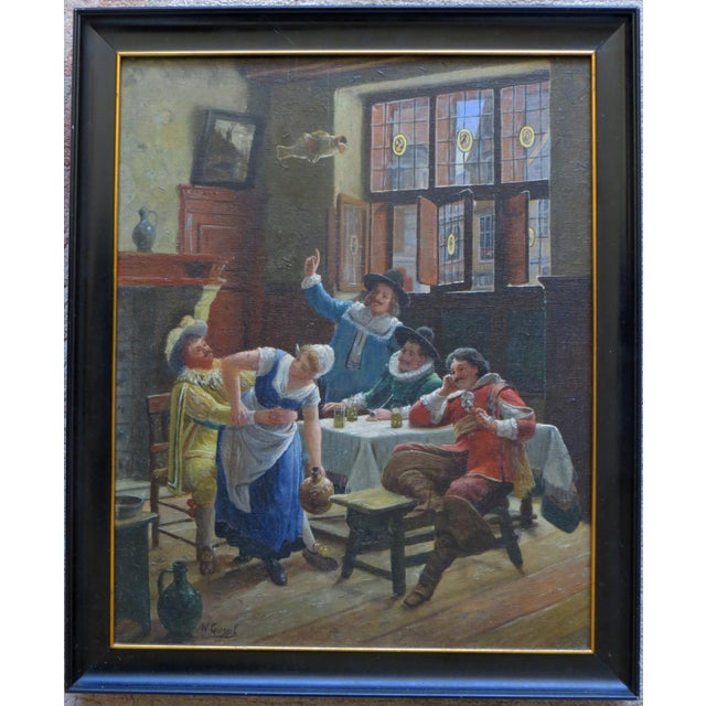 English Traditional Wilhelm Giessel Tavern Scene Oil Painting For Sale - Image 3 of 5