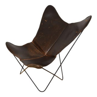 Vintage Ferrari-Hardoy for Knoll Leather Butterfly Chair For Sale