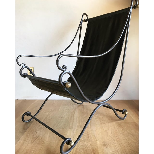 20th Century Maison Jansen Neoclassical Iron Brass Sling Lounge Chair Savonarola Janus Et Cie Style For Sale - Image 10 of 12