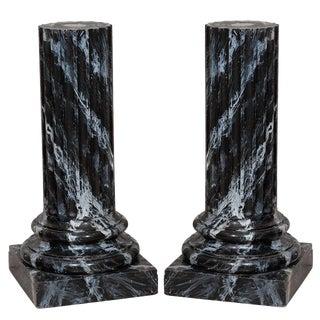 20th Century Faux Marble Pedestals - a Pair