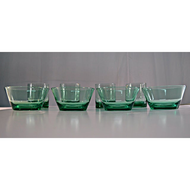 Retro Style Acrylic Green Glassware Set For Sale - Image 5 of 7