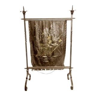 French Wrought Iron & Painted Floral Leather Fire Screen For Sale