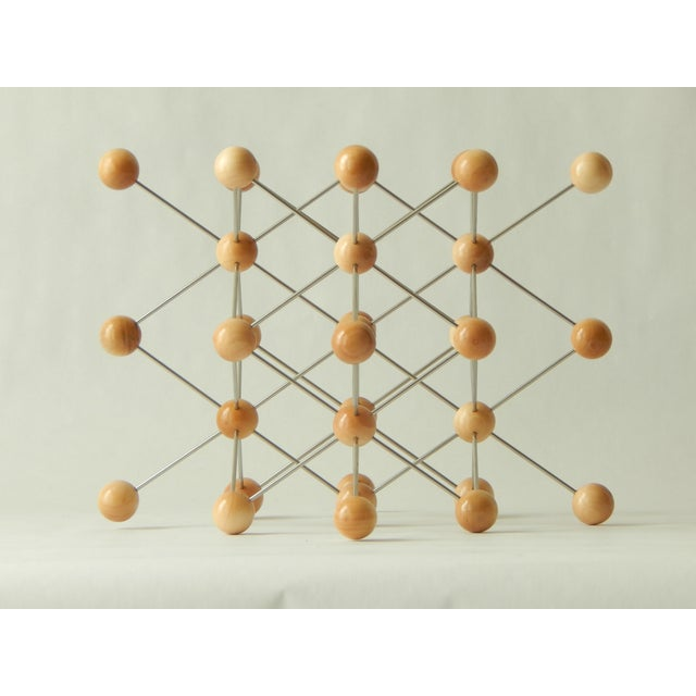 Industrial Wood and Stainless Steel Molecular Model Sculpture For Sale - Image 3 of 7