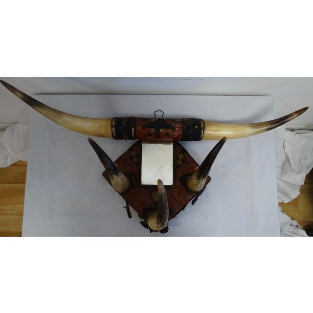 Vintage Leather Horn Hat Rack - Image 2 of 3