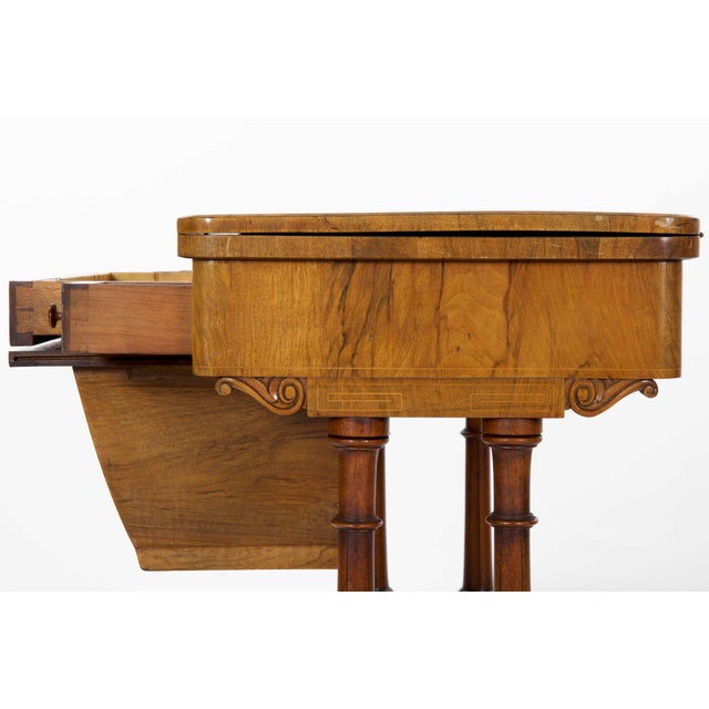 Early Victorian Figured Walnut Antique Games and Work Table, Circa 1860-80 For Sale - Image 9 of 13