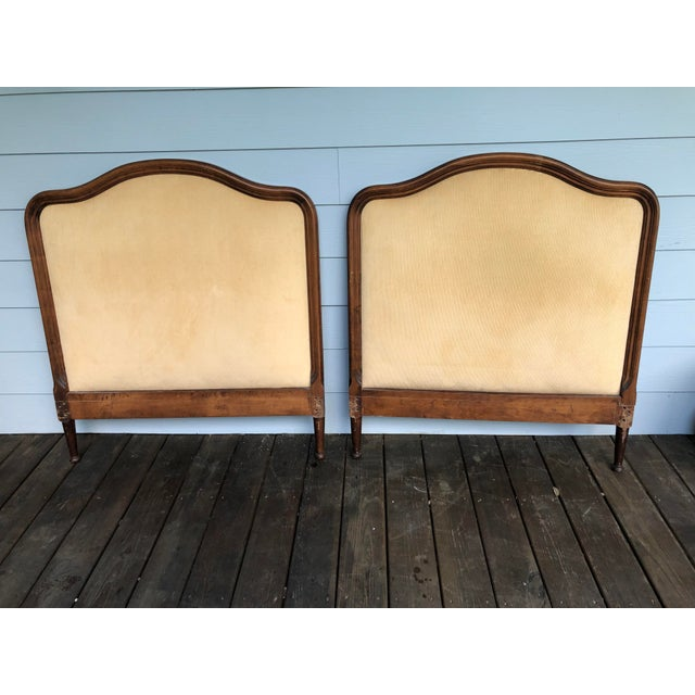 1950s French Twin Headboards Upholstered in Corded Gold Velvet - a Pair For Sale - Image 4 of 10
