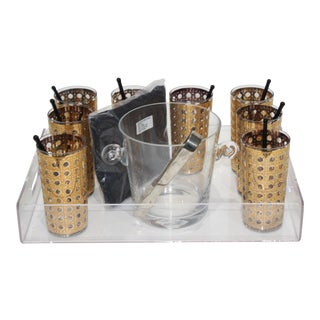 Barware Set Lucite Tray 8 22k Gold High Tumblers by Culver Canella Black Glass Twizzlers 12 Linen Cocktail Napkins Ice Bucket Tongs-31 Pieces Total For Sale