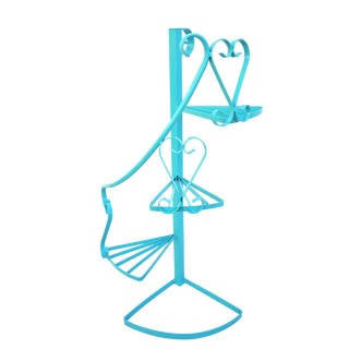 Vintage 3-Tier Turquoise Iron Plant Stand | Spiral Staircase Color Pop Garden Stand || Indoor|Outdoor Planter Display For Sale