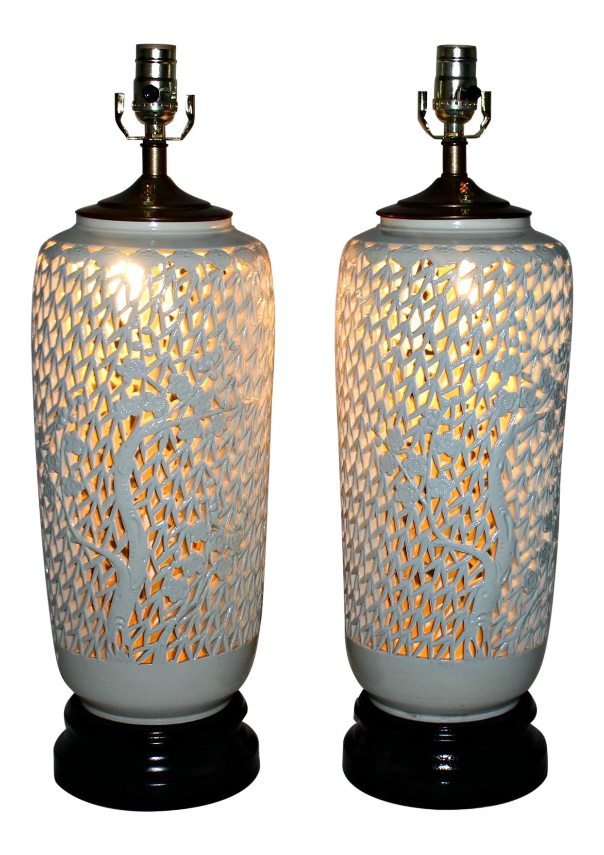 White Porcelain Lattice Lotus Flower Table Lamps A Pair Chairish