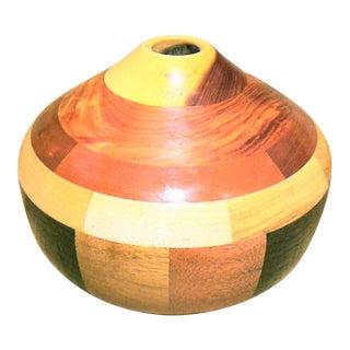 Mid-Century Modern Wood Segmented Vase