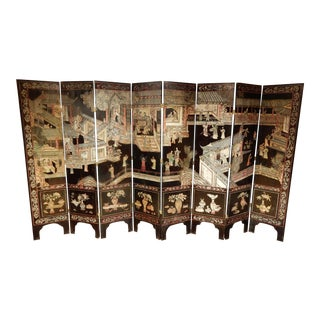19th Century Coromandel Black 8 Panel Screen For Sale