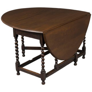 1920s Jacobean Oak Barley Twist Gate Leg Drop Leaf Table For Sale