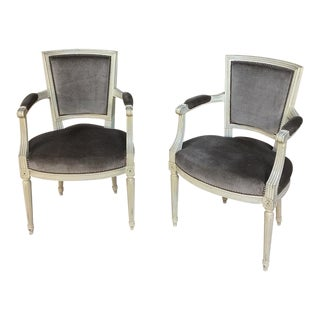 19th Century French Louis XVI Painted Armchairs - a Pair For Sale
