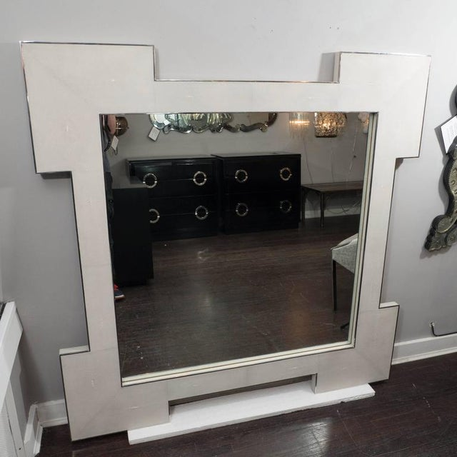 Venfield Custom Square Shagreen Mirror with Square Edges For Sale - Image 4 of 5