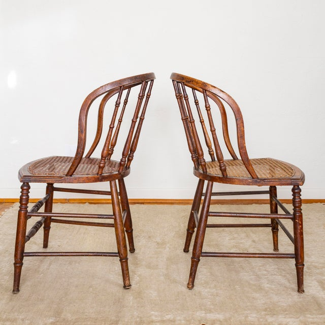19th Century Vintage Cane Seat Spindle Back Windsor Primitive Bow Back Chairs For Sale - Image 6 of 13