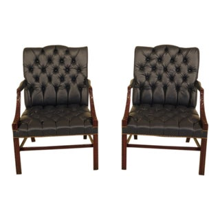 Chippendale Carved Mahogany Blue Leather Library Chairs - a Pair For Sale