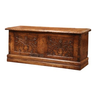 18th Century French Louis XIII Carved Walnut Coffer Trunk From The Pyrenees For Sale