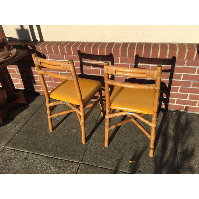 Pair Bamboo Side Chairs Mid Century For Sale - Image 4 of 7