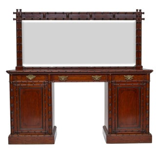 19th Century English Pedestal Sideboard With Mirror Back For Sale