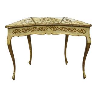 1950s Vintage Italian Florentine Hollywood Regency Flip Top Mirror Vanity Table For Sale