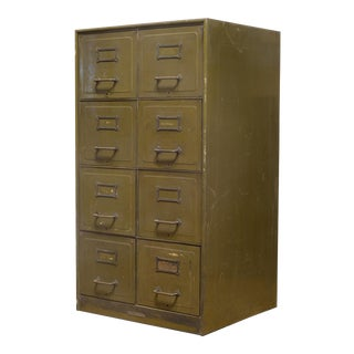 Army Green Steel Double File Cabinet C.1940 For Sale