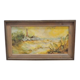 1960s Mid Century Modern Seascape Signed Impressionist Oil Painting on Canvas, Framed For Sale