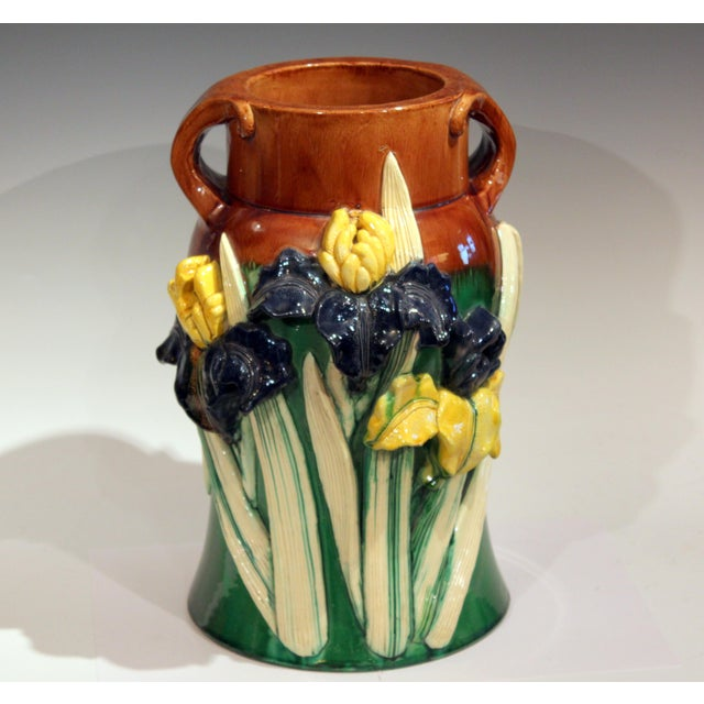 Extraordinary Awaji vase with applied irises in deep relief, circa 1920. Consumate Awaji with the typical glazes, incised...