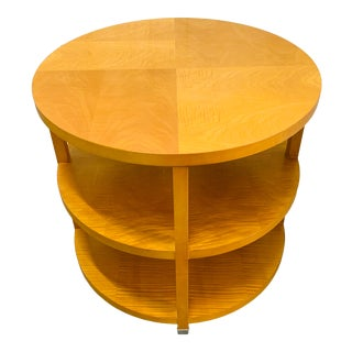 Mid-Century Modern Baker Tiger Maple Side Table For Sale