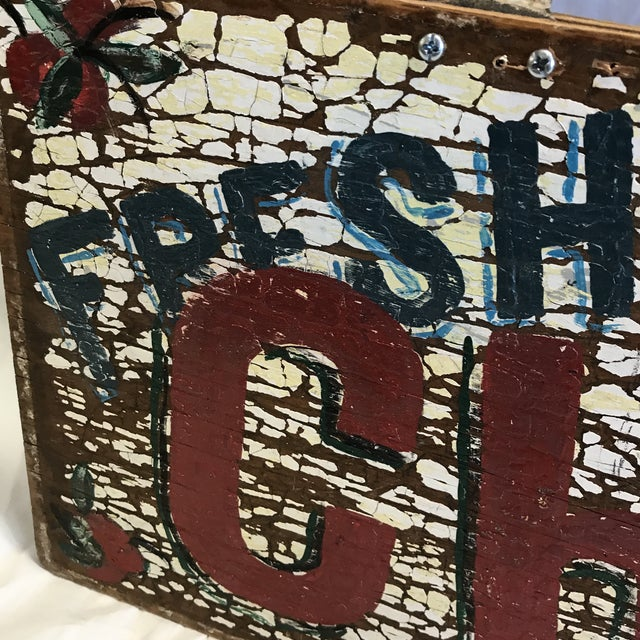 """Hand Painted """"Fresh Cherries Next Left"""" Sign by Folk Artist T. Toupe For Sale - Image 12 of 13"""