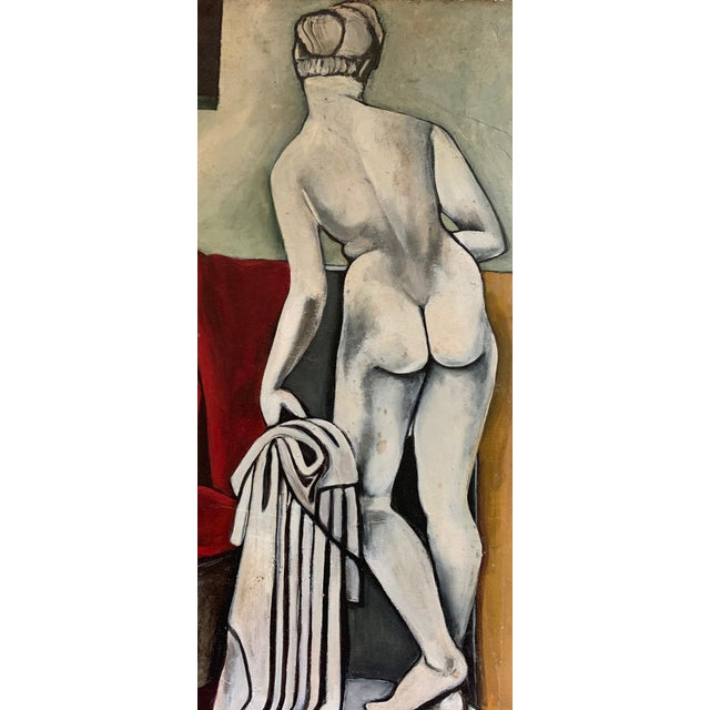 Modern 1940s Vintage Nude Woman Still Life Oil Painting For Sale - Image 3 of 11