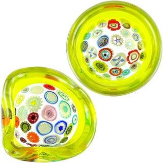 Archimede Seguso Murano Yellow Millefiori Canes Italian Art Glass Incalmo Bowls For Sale