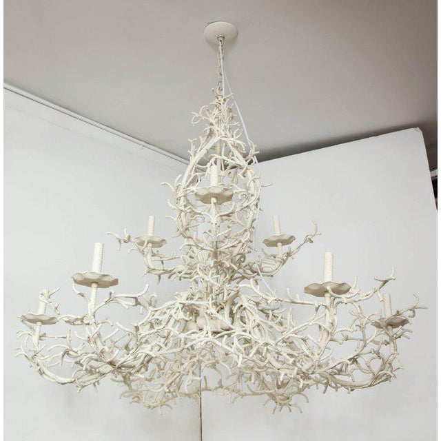 An exceptionally striking painted iron coral-like chandelier. This gem can take centre stage in a room and is special...