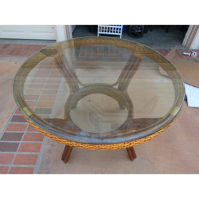 Wicker & Glass Top Dining Table - Image 8 of 8