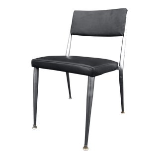 Mid Century Modern Black Vinyl & Brushed Stainless Legs Chair For Sale