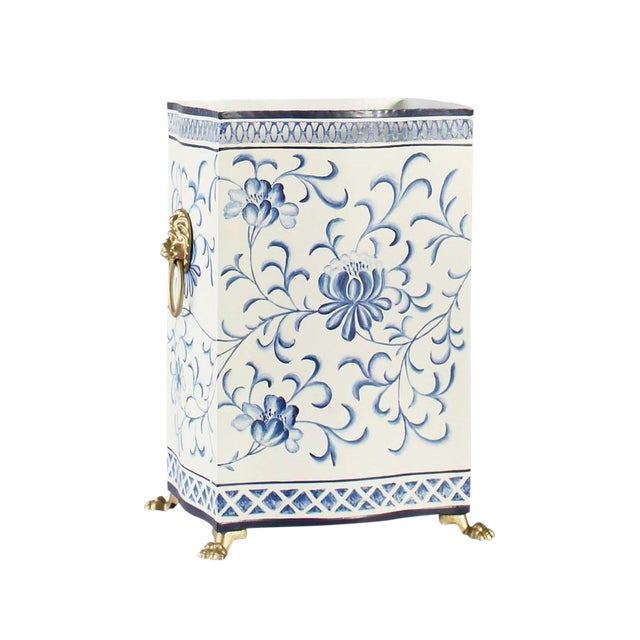 Chelsea House Inc Blue & White Wastebasket For Sale