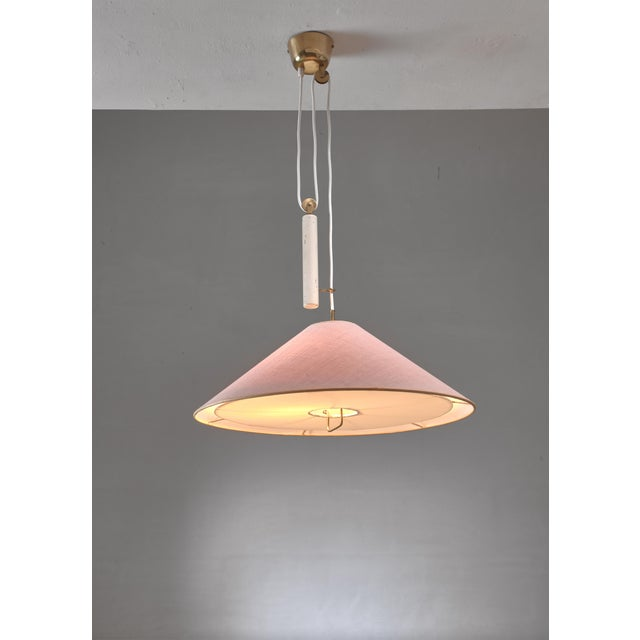 Idman Paavo Tynell Pendant With Counterweight and Fabric Shade and Diffuser, Finland For Sale - Image 4 of 6
