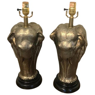 Pair of Elephant Motif Lamps by Chapman For Sale