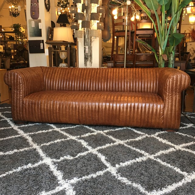 Contemporary New Artsome Logan Sofa in Cognac Color Leather For Sale - Image 3 of 11
