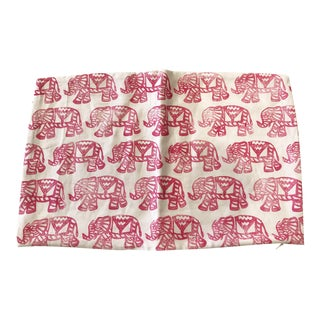 Pink and White Linen Block Print Pillow Cover