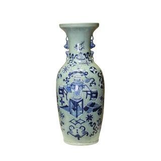 Pale Green Blue Flower Vases Graphic Tall Porcelain Vase For Sale