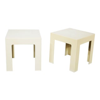 Pair Plastic Parsons Side Tables Antique White Style Kartell or Syroco Mid Century Modern For Sale