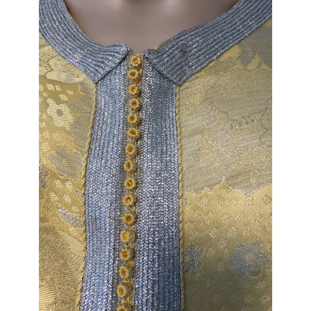 Gold Metallic Gold and Silver Brocade 1970s Maxi Dress Caftan, Evening Gown Kaftan For Sale - Image 8 of 10