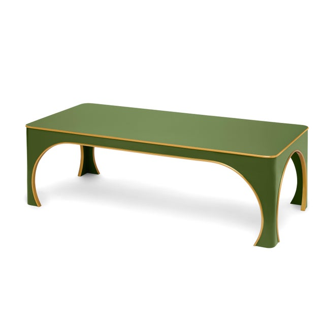The Lacquer Company Miles Redd Collection Brighton Coffee Table in Lettuce Green/ Gold Egde For Sale - Image 4 of 4