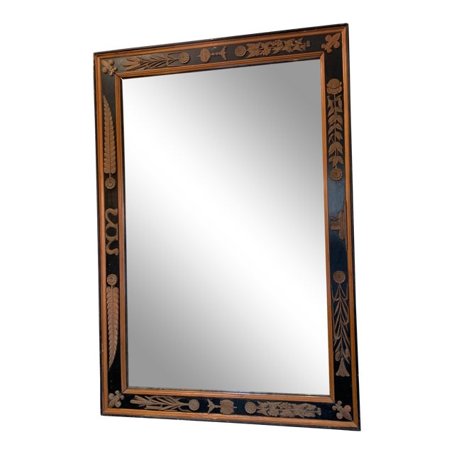 Carved Wood Art Nouveau Mirror With Fleur-DI-Lis For Sale