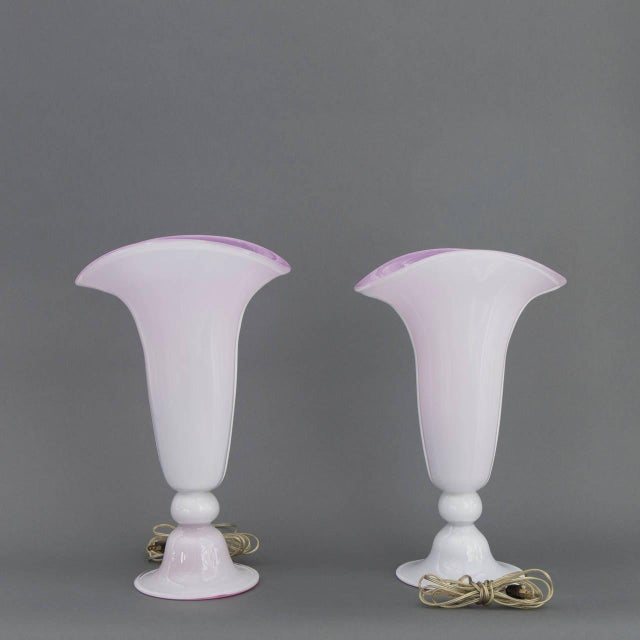 Pair of Mid Century Modern Italian Barovier & Toso Murano Glass Trumpet Lamps in Lavender & Pink - Image 6 of 9
