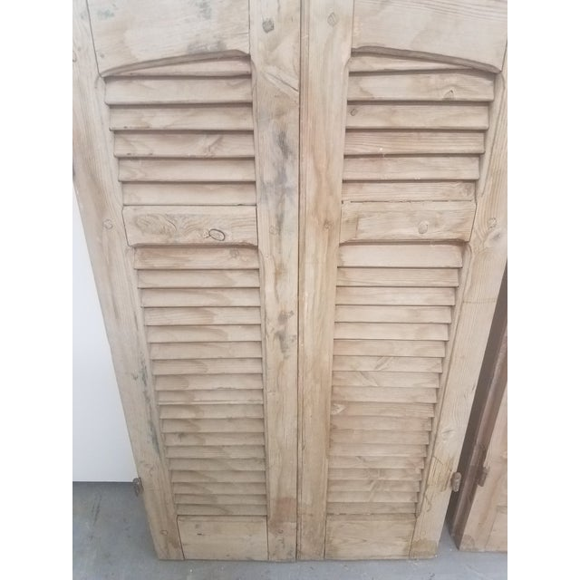 Antique Curved Wooden Shutters - Set of 4 For Sale - Image 4 of 11