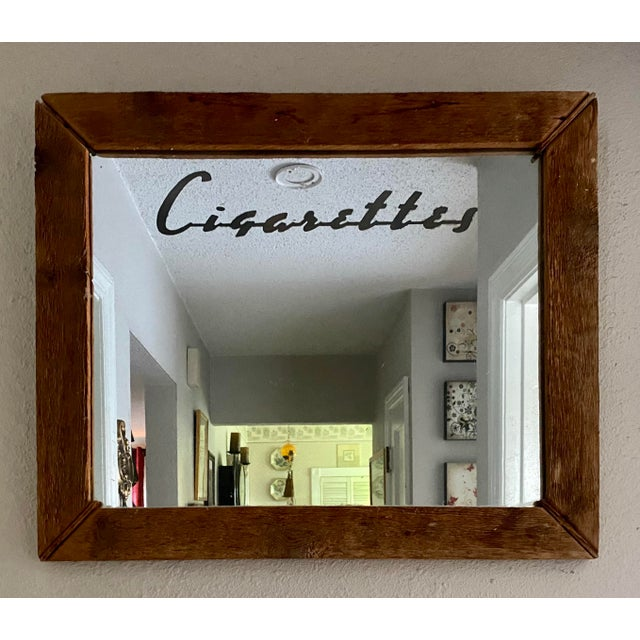 1950s Vintage Cigarettes Vending Machine Mirror Hand Hewn Frame Framed For Sale - Image 4 of 4