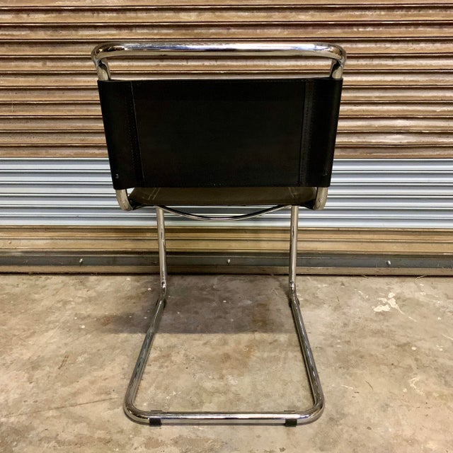 Black Vintage Mid Century Mart Stam Leather and Chrome Cantilever Chairs- A Pair For Sale - Image 8 of 13